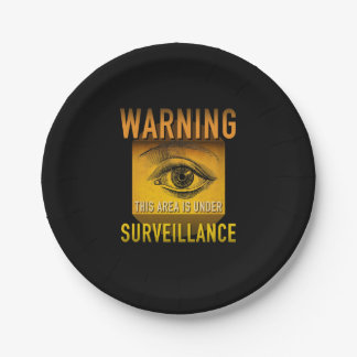 Surveillance Warning Big Brother Atomic Age Grunge Paper Plate