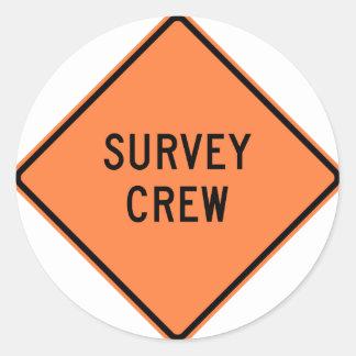Survey Crew Highway Sign Round Sticker