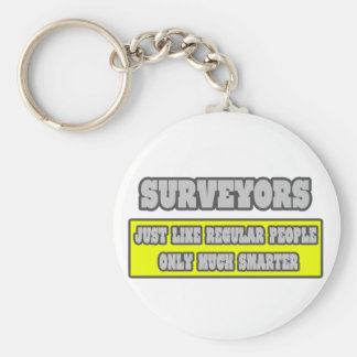 Surveyors...Much Smarter Basic Round Button Key Ring