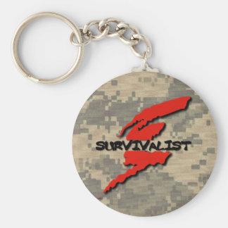 Survivalist Prepper Basic Round Button Key Ring