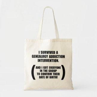 Survived Genealogy Addiction Intervention Budget Tote Bag