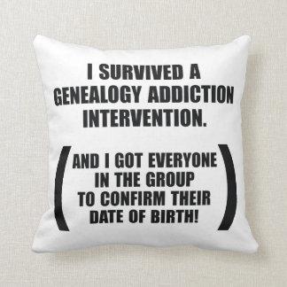 Survived Genealogy Addiction Intervention Cushion