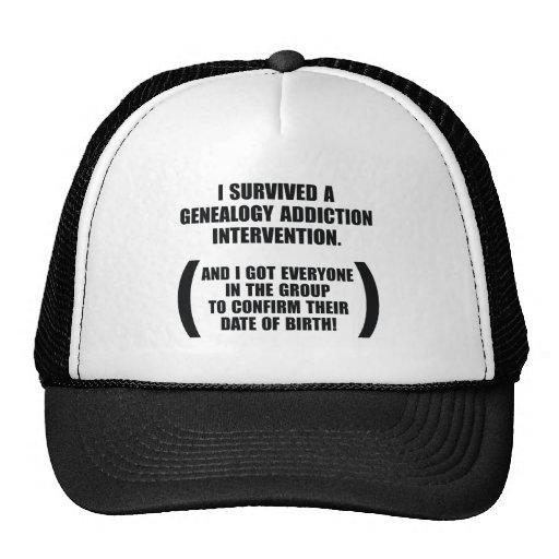 Survived Genealogy Addiction Intervention Hats