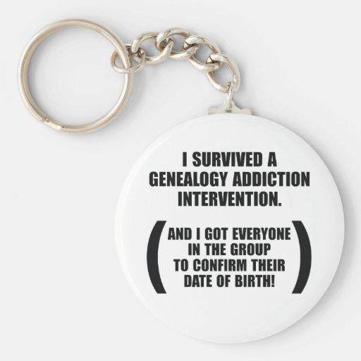Survived Genealogy Addiction Intervention Key Chain