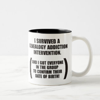 Survived Genealogy Addiction Intervention Two-Tone Mug