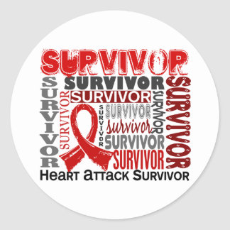 Survivor 10 Heart Attack Round Sticker