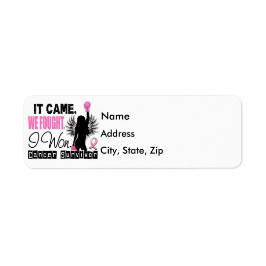 Survivor 22 Breast Cancer Return Address Label