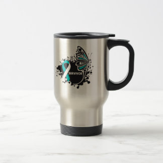 Survivor Abstract Butterfly Cervical Cancer Stainless Steel Travel Mug