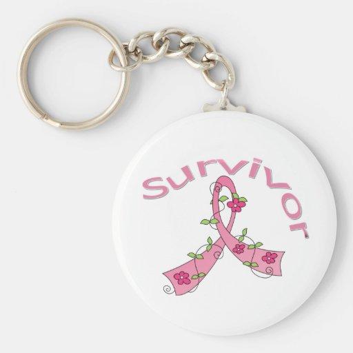 Survivor Flower Ribbon Breast Cancer Keychains