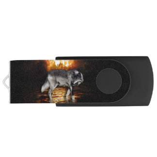 """""""Survivor"""" Grey Wolf And Forest Fire USB Flash Drive"""