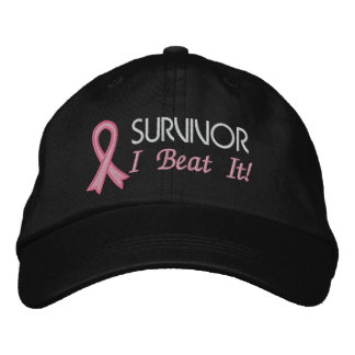 Survivor - I Beat It! Breast Cancer Embroidered Baseball Caps