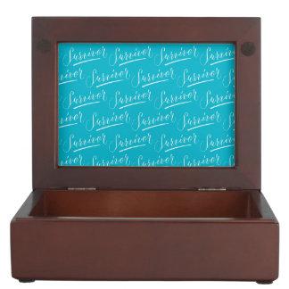 Survivor Modern Calligraphy Hand Lettering Design Keepsake Boxes