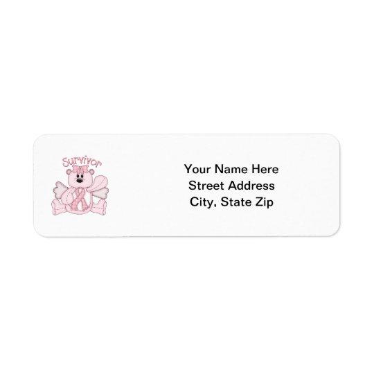 Survivor (pink bear) return address label