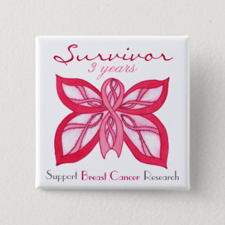 Survivor Pink Ribbon Butterfly - Customizable Pin