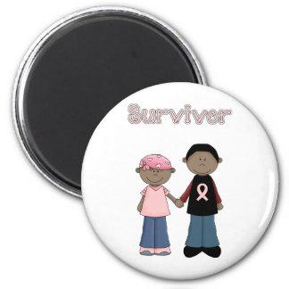 Survivor Pink Ribbon Cartoons 6 Cm Round Magnet