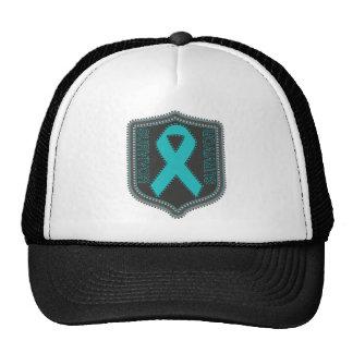 Survivor Stitched Ribbon Patch - Ovarian Cancer Trucker Hat