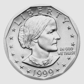 Susan B Anthony Dollar Classic Round Sticker