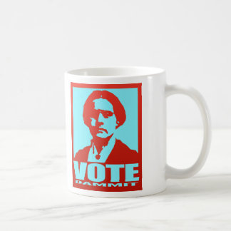 Susan B. Anthony Vote Dammit Pop Art Red and Aqua Basic White Mug