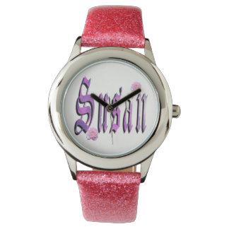 Susan, Name, Logo,  Girls Pink Glitter Watch. Watch
