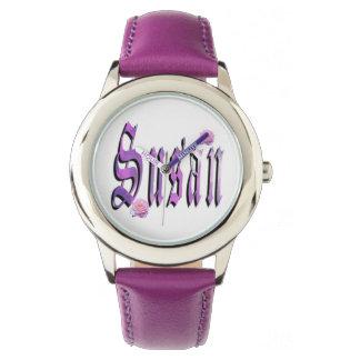 Susan, Name, Logo,  Girls Purple Leather Watch. Watch