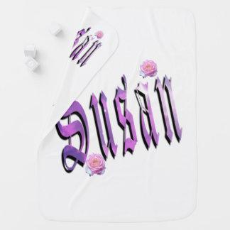 Susan, Name, Logo, White Snugly Baby Blanket. Baby Blanket