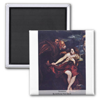 Susanna By Anthony Van Dyck Square Magnet