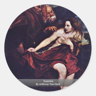 Susanna By Anthony Van Dyck Round Sticker