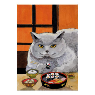 Sushi Cat Big Fred Poster