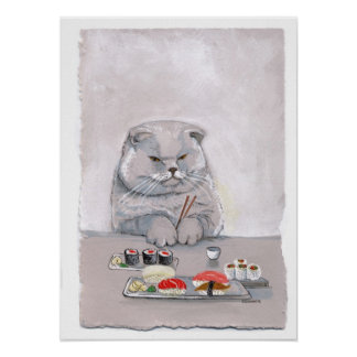 Sushi Cat Print - Mr. Grumps