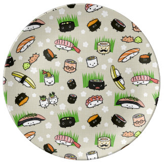 Sushi Characters Pattern Porcelain Plate