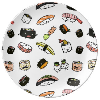 Sushi Characters Pattern Porcelain Plates