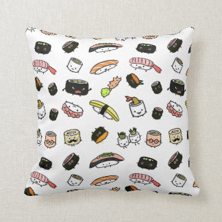 Sushi Characters Pattern Throw Pillow