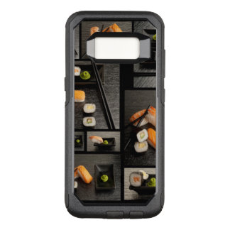Sushi collection on black background OtterBox commuter samsung galaxy s8 case