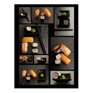 Sushi collection on black background postcard