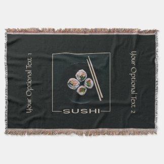 Sushi custom text throw blanket