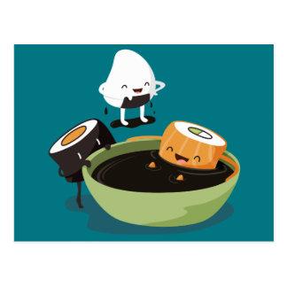 Sushi enjoy bath time funny postcard