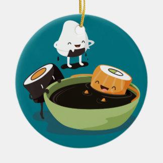 Sushi enjoy bath time funny round ceramic decoration