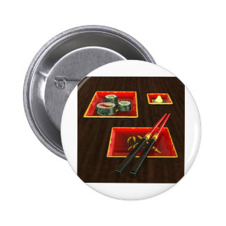 Sushi in Red Pinback Buttons