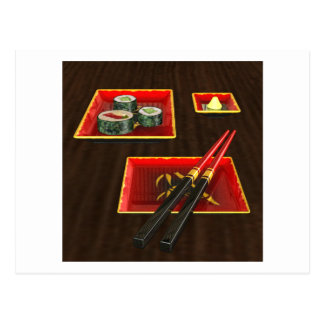 Sushi in Red Postcard