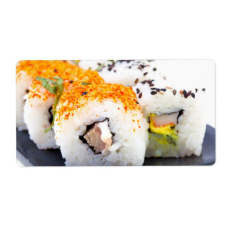 Sushi on a plate shipping label