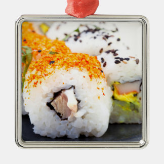Sushi on a plate Silver-Colored square decoration