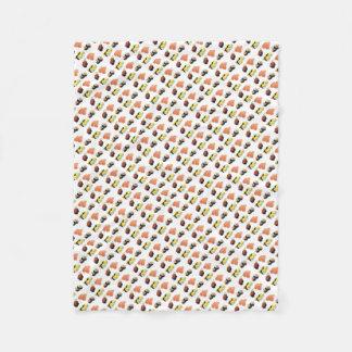 Sushi pattern fleece blanket