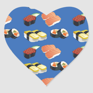 Sushi pattern heart sticker