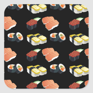 Sushi pattern square sticker