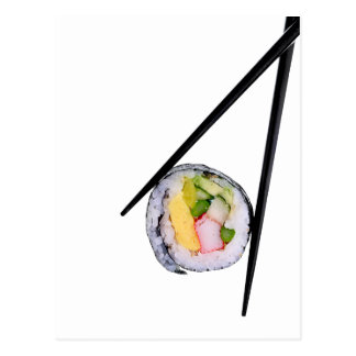 Sushi Roll & Chopsticks - Customized Template Postcard