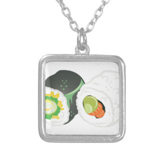 Sushi Rolls Silver Plated Necklace