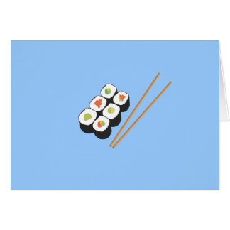 Sushi rolls with chopsticks note card