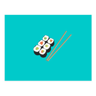 Sushi rolls with chopsticks postcard