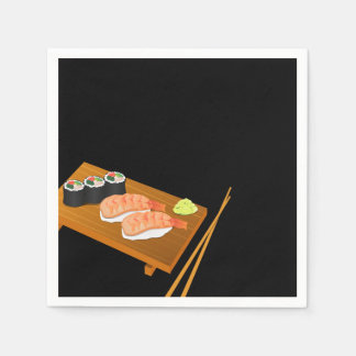 Sushi Selection on Wooden Board Black Paper Napkin