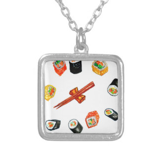 Sushi Set Watercolor2 Silver Plated Necklace